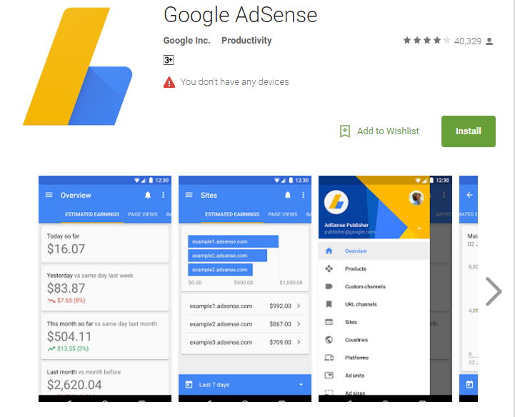 google-adsence application
