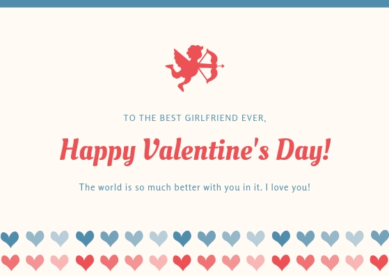 Blue and Red Heart Girlfriend Valentines Card