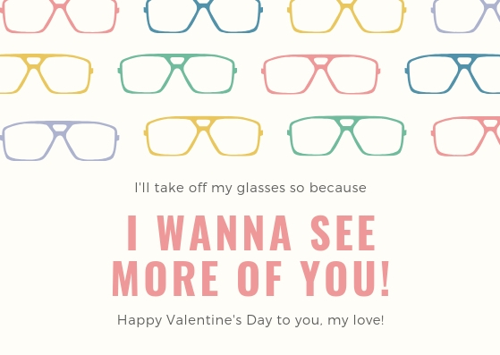 Colorful Patterned Glasses Geeky Valentines Card