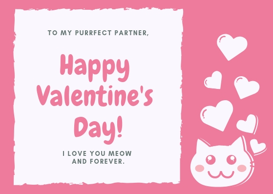 Pink and White Girlfriend Valentines Card