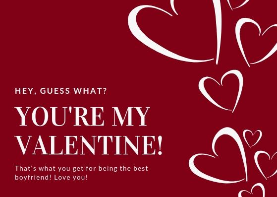 Red Hearts Boyfriend Valentines Card