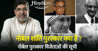 Nobel Peace Prize list india in Hindi